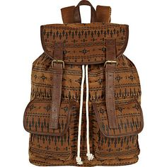 light brown waxed navajo rucksack - rucksacks - bags / wallets - men - River Island