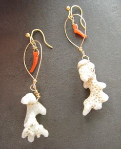 White and red coral earrings wrapped in gold wire
