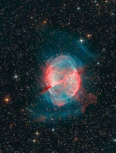 The spectacular #M27 - excellent example of a gaseous emission nebula created as a sun-like star runs out of nuclear fuel. The nebula forms as the star's outer layers are expelled into space with a visible glow generated by atoms excited by intense..