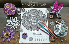 Hattifant's Mandalendar 2016 - A monthly calendar with a beautiful Mandala for you to color while keeping track of time.The current month - FREE to download