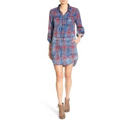 Women's Blanknyc 'Jitney' Plaid Cotton Shirtdress (130 CAD) ❤ liked on Polyvore featuring dresses, jitney, cotton day dresses, long white shirt dress, shirt dresses, cotton shirt dress and long-sleeve shirt dresses