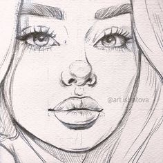 Art Drawings Sketches Simple, Pencil Art Drawings, Realistic Drawings, Drawing Art, Girl Face Drawing, Simple Face Drawing, Pencil Sketches Of Faces, Tumblr Girl Drawing, Portrait Sketches