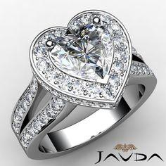 2 31 Ct Split Shank Fine Heart Diamond Engagement 14k White Gold Ring H SI1 GIA | eBay