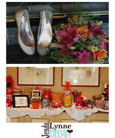 Candy bar & wedding shoes.