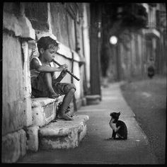.vintage boy, flute and cat