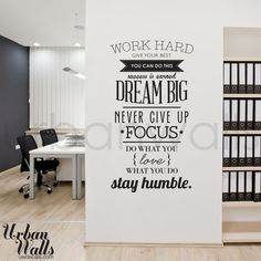 Vinyl Wall Sticker Decal Work Hard by urbanwalls on Etsy, $49.00