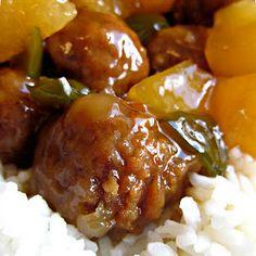 Slow Cooker Hawaiian Meatballs Recipe @keyingredient #slowcooker