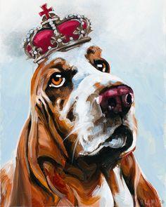 Basset hound birthday  art print animals impressionism 11x17  dog