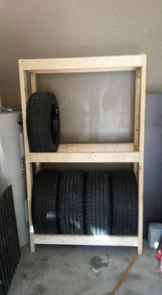 DIY Budget Tire Rack (or Shelves) for Your Garage: 5 Steps Tire Storage Rack, Garage Tool Storage, Tire Rack, Garage Shelf, Garage Tools, Garage Workshop, Garage Organization, Diy Storage, Extra Storage