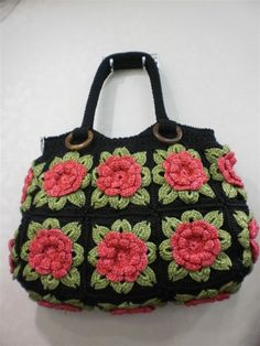 Handmade Crochet lady bag bright fashion handbag tote durable flowers bag.  via Etsy.