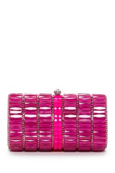 La Regale Faceted Glass & Crystal Minaudiere Clutch