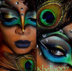Pfau Makeup … - Halloween Make-up Peacock Eye Makeup, Dramatic Eye Makeup, Dramatic Eyes, Peacock Mask, Peacock Costume, Peacock Halloween, Halloween Looks, Halloween Makeup, Pfau Make-up