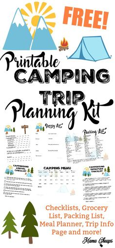 FREE Printable Camping Trip Planning Kit - 7 pages total.. print all or just the ones you need!