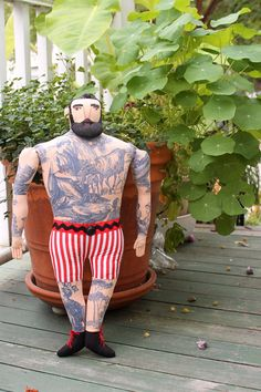 Big Man with Tattoos and Beard doll in Shorts by MimiKirchner