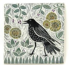 hand carved ceramic art tile crow in garden by crowfootstudio #crow #raven #ceramictile