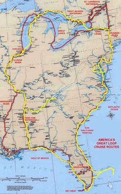 The Great Loop - Destinations Bluewater Bay Marina. Travel Route, Travel Info, Travel Usa, Places To Travel, Map Geo, Boat Navigation, Sailboat Interior, Boat Stuff, Worldwide Travel