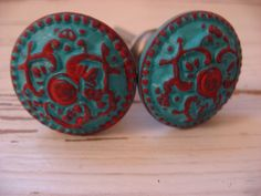 Turquoise and Red Knobs- perfect for my  yellow end stand drawers