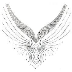 Silk Ribbon Embroidery Rhinestone Hot Motif Crystal Fashion Design Dress Neckline Art Line Beautiful - Embroidery Neck Designs, Bead Embroidery Patterns, Silk Ribbon Embroidery, Applique Designs, Hand Embroidery, Sewing Patterns, Rhinestone Art, Neckline Designs, Crystal Fashion