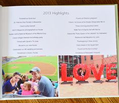 "Love this idea!  Family yearbook including a page of ""highlights"" typed out."