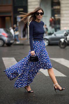 navy cropped knit + blue patterned skirt