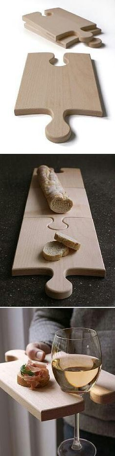 Puzzle piece cutting board/ wine glass holder