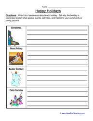 Holiday Worksheet - Christian Holidays