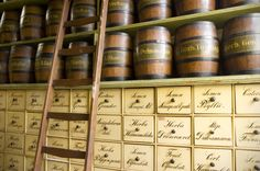 Shelf of Jacob Hooy and Company, apothecary in Amsterdam, Netherlands. Founded in 1743, this apothecary can be seen today in its original fittings.