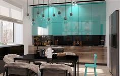 Дизайн кухни в бирюзовом цвете