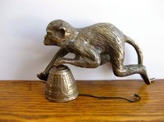 Vintage Brass Shelf Hanging Monkey with Bell by TheJoeKnoxCompany -sold.