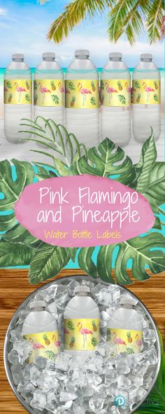 These Flamingo Pineapple Party Water Bottle Labels are perfect for any Tropical Aloha Party. #pineappleparty #tropicalparty #flamingoparty