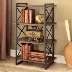 Verdana Iii Display Shelf CM-AC6203 $128 Features: -Style :TransitionalColor/Finish :Medium OakMaterial :Metal, Solid Wood/Wood Veneer