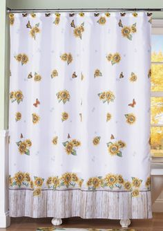 Sunflower & Butterflies Country Floral Shower Curtain