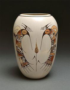 Rainy Naha (Hopi, born 1949) ~ Whiteware pottery vase with hummingbirds design