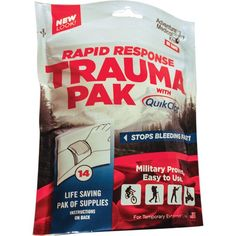 Tactical professionals know that excessive equipment only gets in the way in an emergency. With that in mind, the Trauma Pak with QuikClot® is designed to stop bleeding and control serious trauma at the scene so more advanced care can be sought later. Packed in a tough, waterproof pouch sized to fit in any pocket, the Trauma Pak with QuikClot® is easy to deploy: just rip the top off, pull out the QuikClot® dressing to apply to any life-threatening bleeding, and use the other bandages and ...