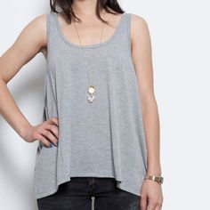 Button Back Tank Heather now featured on Fab.