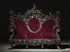 Gothic chaise red velvet sofa