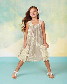 Girls Crème Brulée Dress - A crème brulée dress so pretty, she'll eat it up! The swinging A-line style is full of delicate details, like a lace flower with crystals, lace edging and floral embroidery.