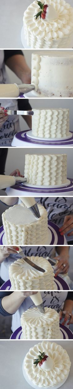 How to Frost a Petal Cake // Step-by-step photo tutorial (complete with instructions) for crumb coating a layer cake, then decorating it with an all-over petal design. Cake Decorating Techniques, Cake Decorating Tutorials, Cookie Decorating, Decorating Cakes, Cake Decorations, Food Cakes, Cupcake Cakes, Pretty Cakes, Beautiful Cakes