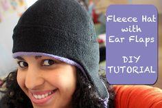 Crafty Gemini Fleece Hat with Ear Flaps- DIY Tutorial & Free Pattern Sewing Tutorials, Sewing Hacks, Sewing Patterns, Knitting Patterns, Sewing Projects, Sewing For Kids, Free Sewing, Fleece Hat Pattern, Crafty Gemini