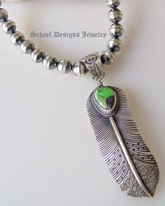 Green Carico Lake & sterling silver native american artist signed feather pendant | Schaef Designs artisan handcrafted Southwestern, Native American & Equine Jewelry | Online upscale southwestern equine jewelry boutique gallery | New Mexico