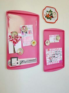 Spray paint old cookie sheets...use as magnetic boards
