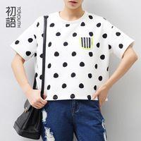 2 015 Toyouth осень-весна Женщины Повседневная футболка Свободный точка полоса короткими рукавами с Девушкой О-образным вырезом Топ