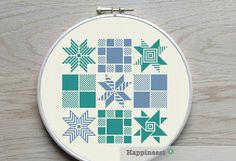 cross stitch pattern snowflakes and blocks, modern cross stitch, PDF ** instant download**