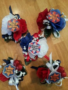 Elastic wristlets and ribbon from… Girl Scout Troop, Girl Scouts, American Heritage Girls, Daisy Scouts, Crafts For Girls, Cute Crafts, 4th Of July Wreath, Boy Or Girl, Badge
