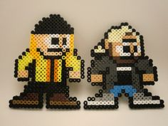 "Megaman style ""Jay and Silent Bob"" Beadsprite Magnet set. $11.00, via Etsy."