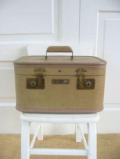 Vintage Train Case Suitcase Luggage Tan Storage by vintagejane, $36.00