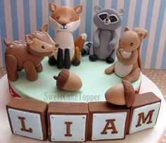 Woodland Animal Cake Topper with Name Blocks by SweetCakeTopper