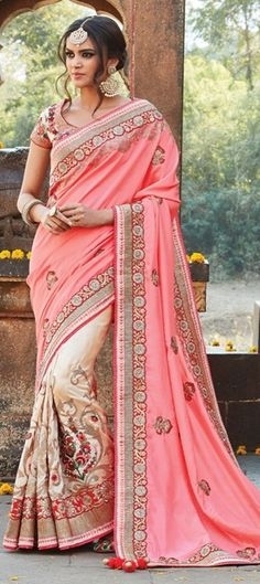 190417: Beige and Brown, Pink and Majenta color family Bridal Wedding Sarees with matching unstitched blouse.