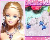 barbie dolls Christmas jewelry set necklace and earring for barbie dolls