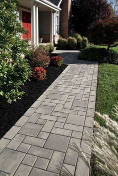 create a beautiful entrance with a paver Walkway using EP Henry's Village Square in Pewter Blend